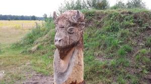 Een mooie houten wisentenkop